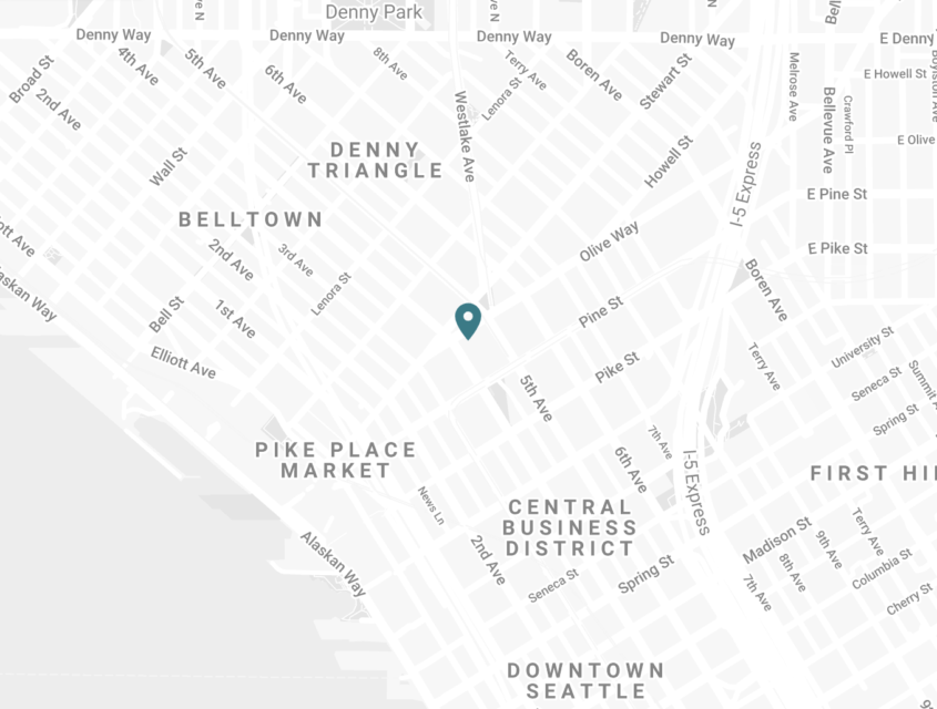 map of downtown Seattle with a mark showing the location of the mayflower park hotel