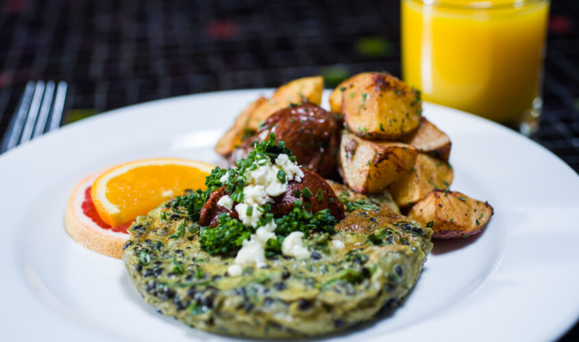 vegetable frittata with roasted potatoes