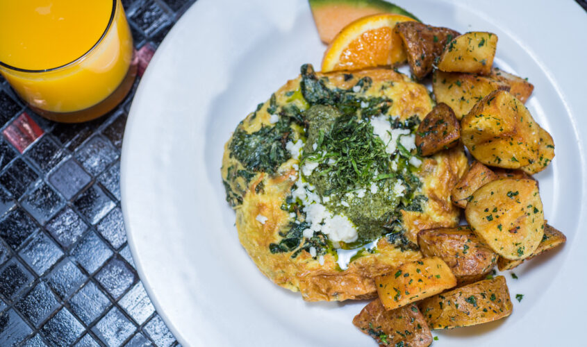 fritata with spinach and roasted potatoes
